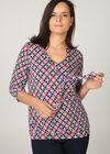 T-shirt in koel tricot met mozaïekprint, Marineblauw