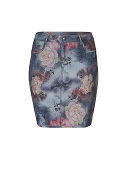 Omkeerbare jeansrok met bloemenprint., Multicolor