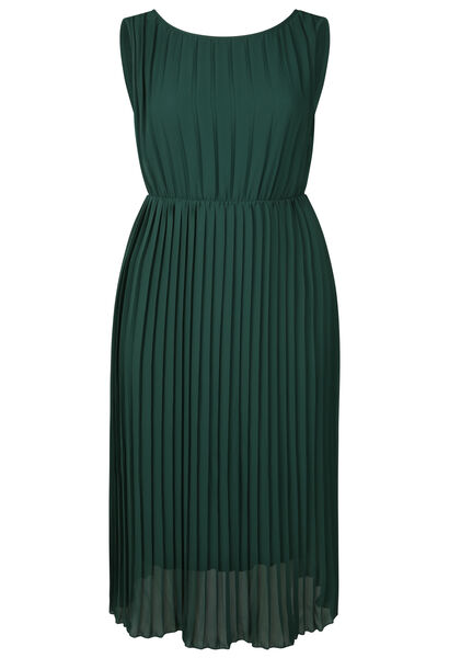 Lange jurk in plissévoile - Donker groen