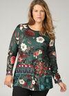 Tuniekshirt met grote bloemen, Emerald groen