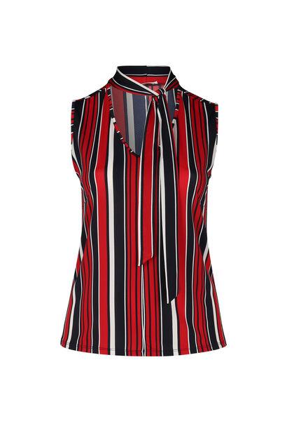 Mouwloze blouse met streepjes - Marineblauw