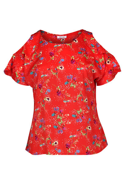 Bloes met blote schouders en volantmouwen - Rood