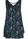 Mouwloze jurk met bladprint en flamingo's, Groen