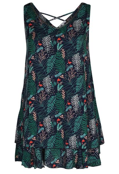 Mouwloze jurk met bladprint en flamingo's - Groen
