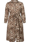 Lange jurk met luipaardprint, Camel