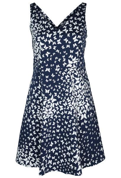 Katoenen jurk met een vlinderprint - Marineblauw