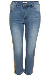 Slim jeans met fluo-strasstroken