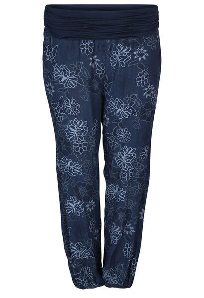 Soepel vallende broek met bloemenprint - Marineblauw