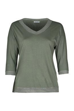 T-shirt met een boord in lurex, Kaki