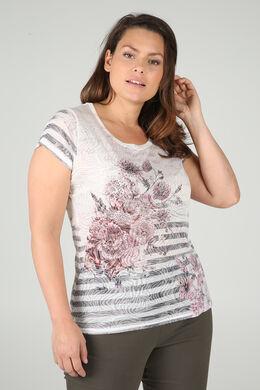 T-shirt met strepen en bloemen, Roze