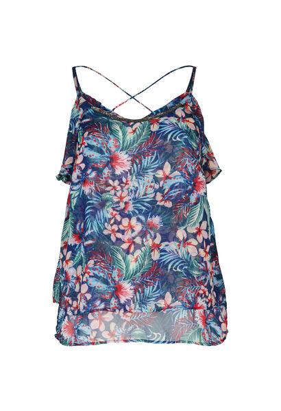 Top met dunne schouderbandjes in voile met tropische print - Bic blauw