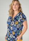 T-shirt in koel tricot met cirkels, Bic blauw