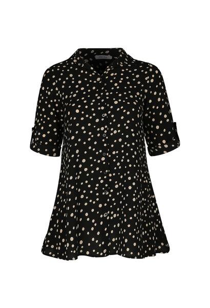 Lange blouse met stippen - Zwart