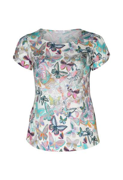 T-shirt met vlinders en strassteentjes - Multicolor