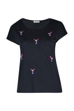 T-shirt met geborduurde vogels, Marineblauw