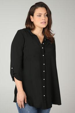 Lang hemd met parelknopen, Zwart