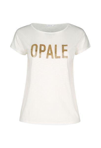 T-shirt in gevlamd tricot 'Opale' - Ecru