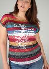 T-shirt in bedrukt linnen, Multicolor