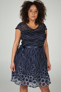 Uitlopende jurk in kant, Marineblauw