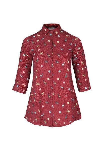Lang hemd met minimalistische print - Bordeaux