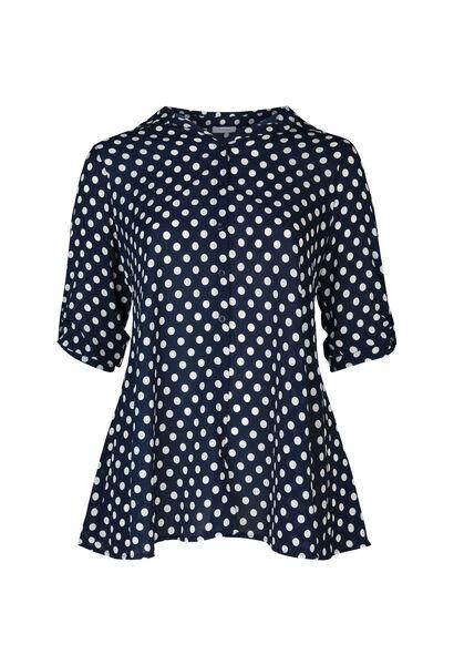 Lang hemd met stippen - Marineblauw