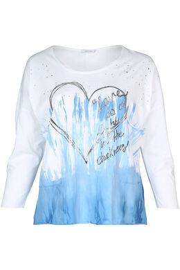 T-shirt met tie & dye-print, Wit