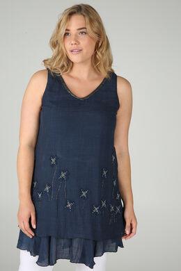 Effen jurk met bloemen in netstof en kralen, Marineblauw