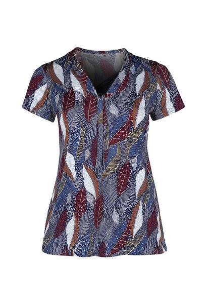 T-shirt in tricot met strikkraag - Indigo