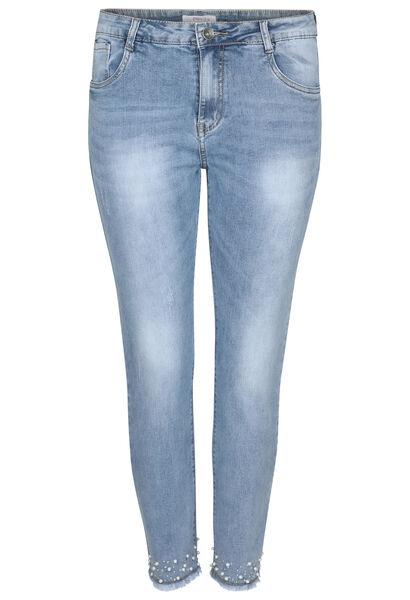 7/8 slim jeans met kraaltjes - Denim